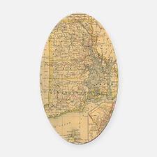 Vintage Map of Rhode Island (1875) Oval Car Magnet