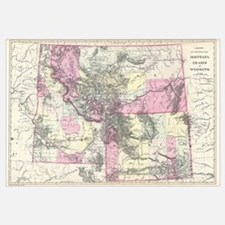 Vintage Map of Montana, Wyoming and Idaho (1884)