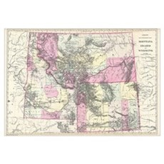 Vintage Map of Montana, Wyoming and Idaho (1884)  Framed Print