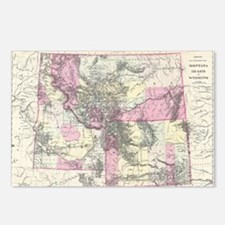 Vintage Map of Montana, W Postcards (Package of 8)