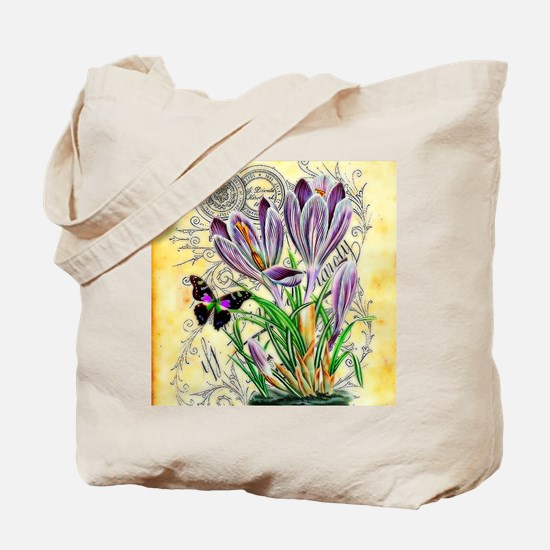 Crocus and butterfly Tote Bag