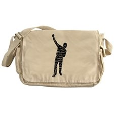 AZONTO black & white SCRIPT Messenger Bag