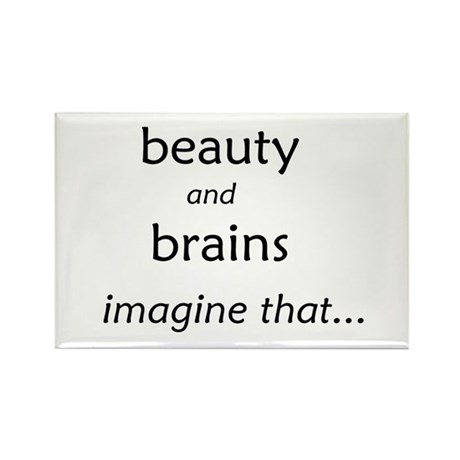 Beauty and Brains Rectangle Magnet (10 pack)