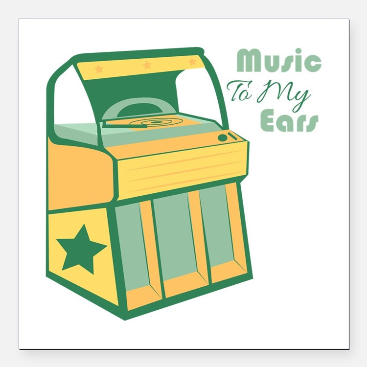 """Music To My Ears Square Car Magnet 3"""" x 3"""""""