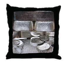 Silver Hoard Throw Pillow