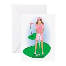 Cute Golfer girls Greeting Cards (Pk of 20)