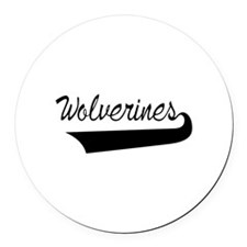 Wolverines Lettering Round Car Magnet