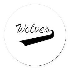 Wolves Lettering Round Car Magnet