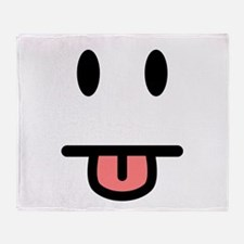 Tongue Sticking Out Face Throw Blanket