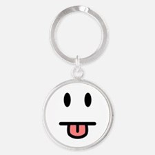 Tongue Sticking Out Face Round Keychain