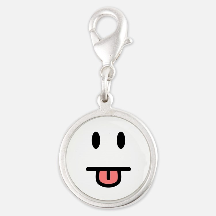 Tongue Sticking Out Face Silver Round Charm