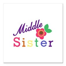 """Middle Sister Square Car Magnet 3"""" x 3"""""""