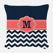 Navy Coral Chevron Monogram Woven Throw Pillow