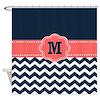 Navy Coral Chevron Monogram Shower Curtain