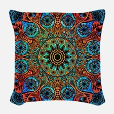 Colorful Retro Floral Lace Geo Woven Throw Pillow