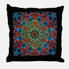 Colorful Retro Floral Lace Geometric Throw Pillow