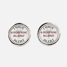 MORPHINE ALLERGY Round Cufflinks