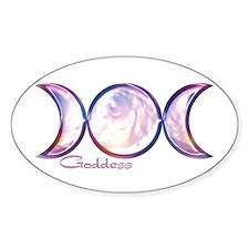 Triple Moon Goddess Oval Decal