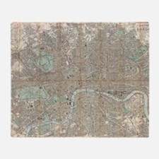 Vintage Map of London (1890) Throw Blanket