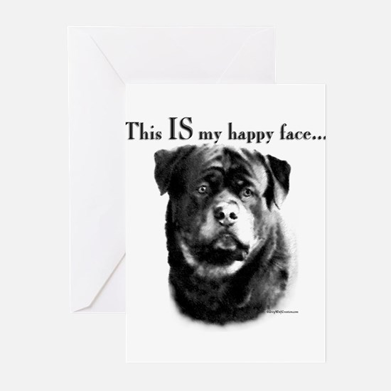 Rottweiler Happy Face Greeting Cards