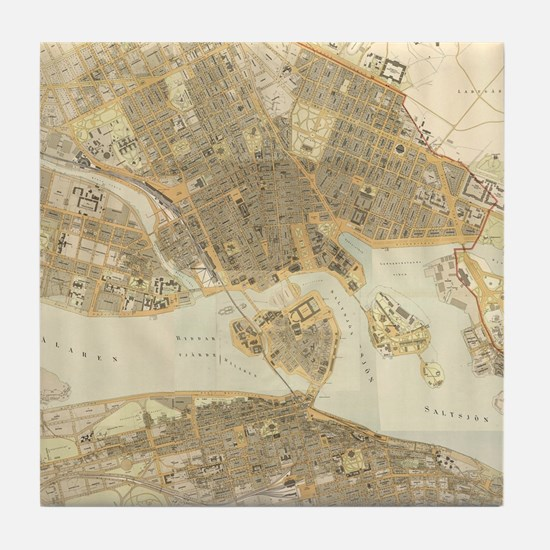 Vintage Map of Stockholm (1899) Tile Coaster