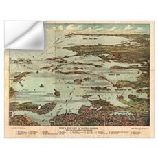 Boston Harbor Birdseye-view map Wall Decal