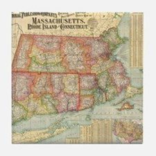 Vintage Map of New England States (19 Tile Coaster