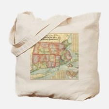 Vintage Map of New England States (1900) Tote Bag