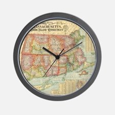 Vintage Map of New England States (1900 Wall Clock