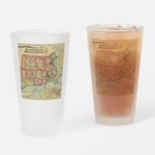 Vintage Map of New England States ( Drinking Glass