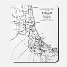 Vintage Map of The Chicago Railroad Netw Mousepad