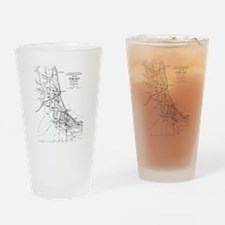 Vintage Map of The Chicago Railroad Drinking Glass