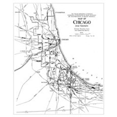 Vintage Map of The Chicago Railroad Network (1913) Framed Print