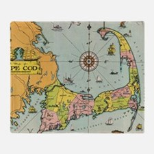 Vintage Map of Cape Cod Throw Blanket