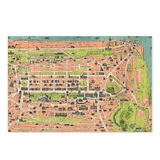 Vintage Map of Edinburgh  Postcards (Package of 8)