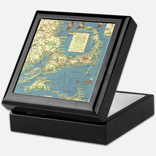 Vintage Cape Cod Map (1940) Keepsake Box