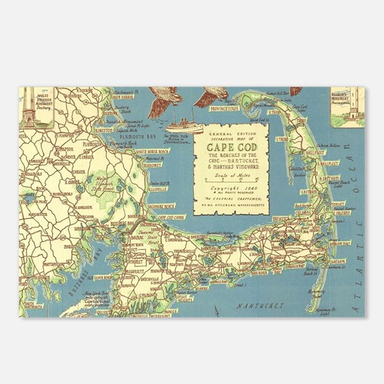 Vintage Cape Cod Map (194 Postcards (Package of 8)