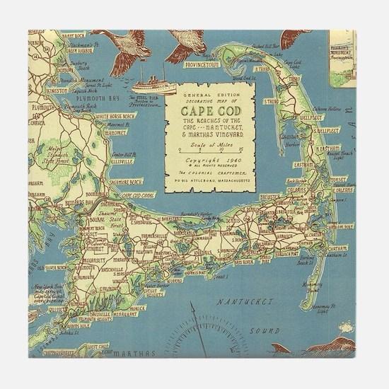 Vintage Cape Cod Map (1940) Tile Coaster