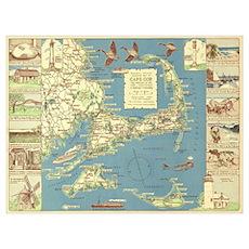 Vintage Cape Cod Map (1940) Poster