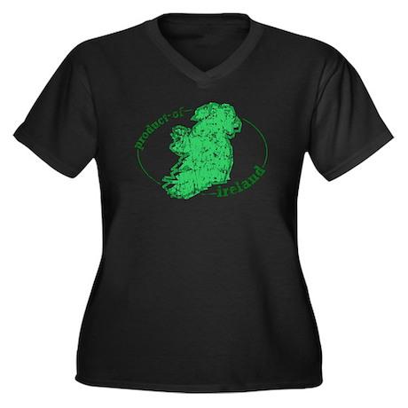 """Product of Ireland"" Women's Plus Size V-Neck Dark"