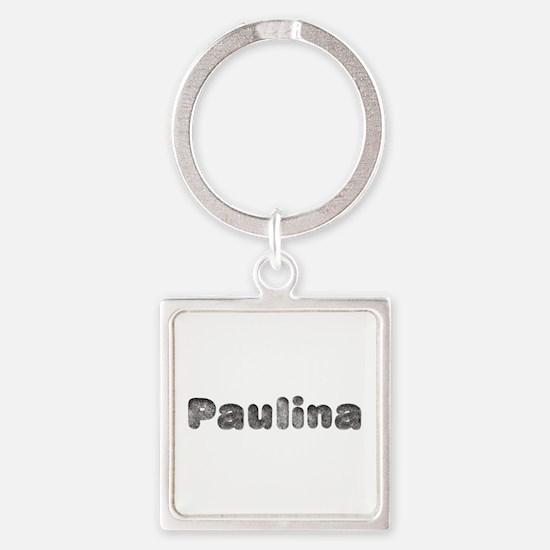 Paulina Wolf Square Keychain