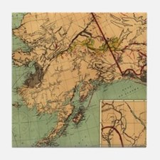 Vintage Map of Gold and Coal in Alask Tile Coaster