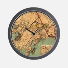 Vintage Map of Gold and Coal in Alaska  Wall Clock