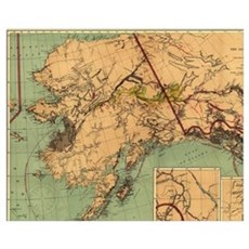 Vintage Map of Gold and Coal in Alaska (1898) Poster