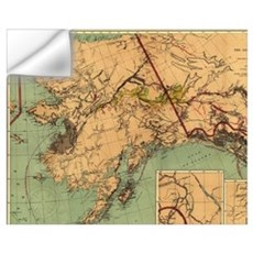 Vintage Map of Gold and Coal in Alaska (1898) Wall Decal