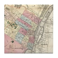 Vintage Map of Albany NY (1874) Tile Coaster