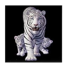 White Tigers 3 Tile Coaster