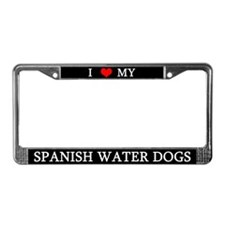 Love Spanish Water Dogs License Plate Frame