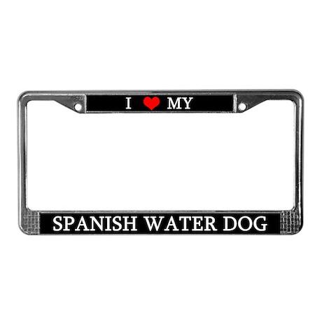 Love Spanish Water Dog License Plate Frame