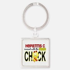 Hepatitis C MessedWithWrongChick1 Square Keychain